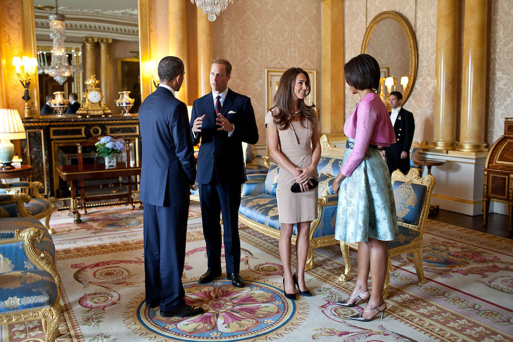 Inside Buckingham Palace: President Barack & Michelle Obama_with Duke and Duchess of Cambridge. Photo Credit: © Public Domain via Wikimedia Commons.