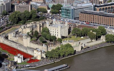 Tower of London as viewed from The Shard. Photo Credit: © Hilarmont via Wikimedia Commons.
