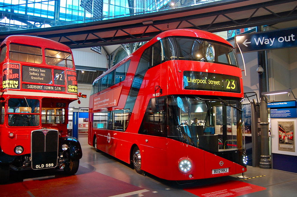 Old and New Routemaster inside the London Transport Museum. Photo Credit: © Magnus D via Wikimedia Commons.