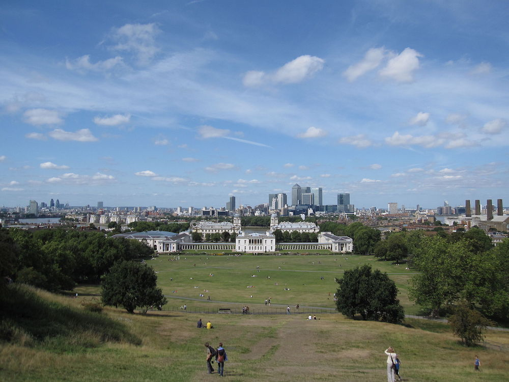 Royal Parks in London: View of Queens House and Canary Wharf from Greenwich Park. Photo Credit: © Gryffindor via Wikimedia Commons.