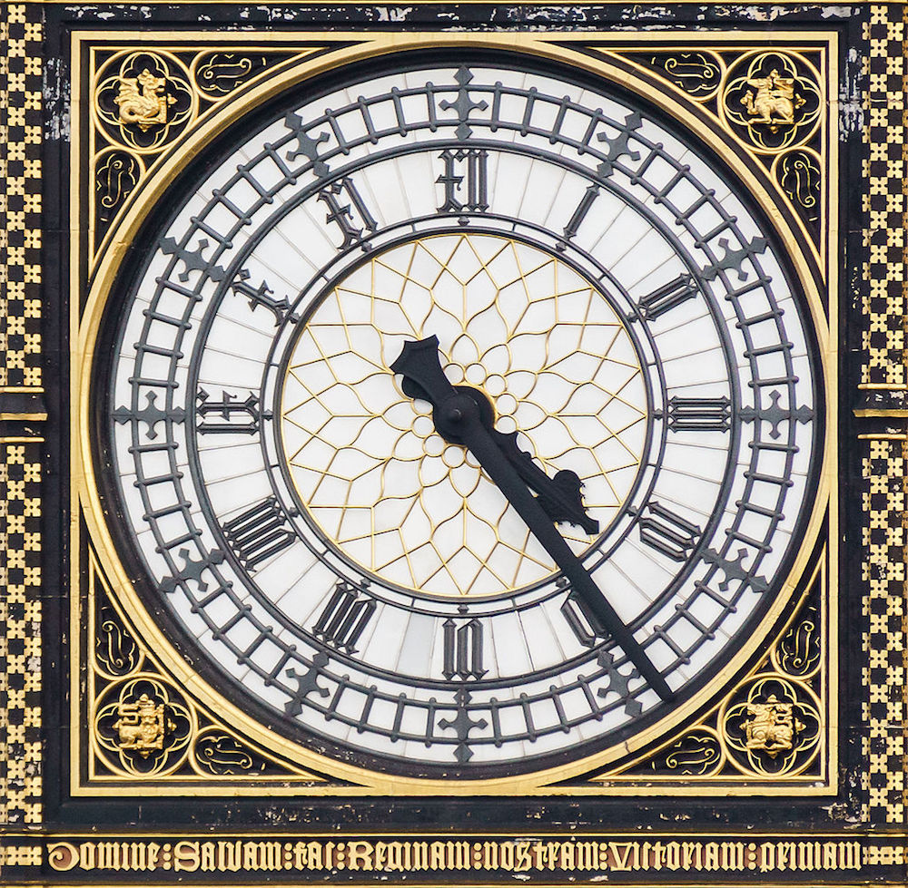 Close up of the dials of Clock Tower aka Big Ben in London. Photo Credit: © Colin via Wikimedia Commons.