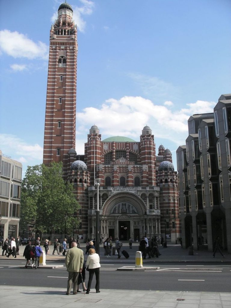 Front of Westminster Cathedral in London. Photo Credit: © Public Domain via Wikimedia Commons.
