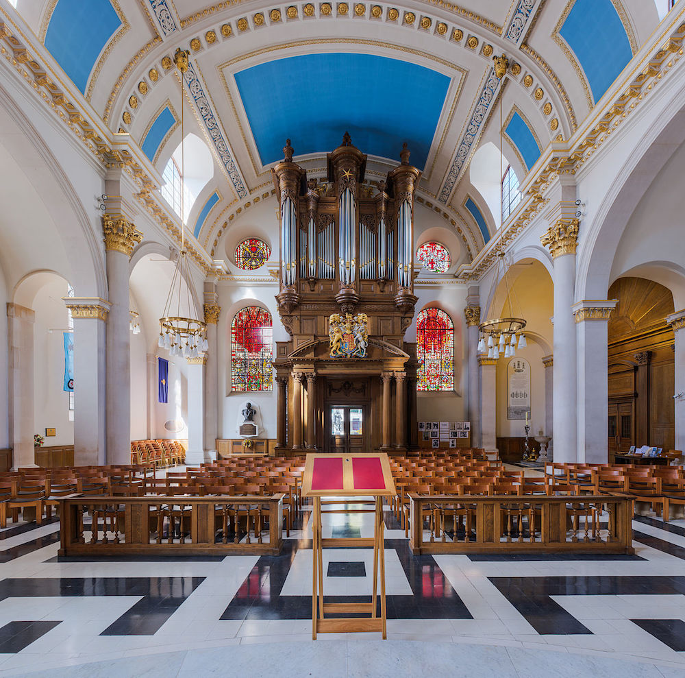 Interior of St Mary-le-Bow Church in London. Photo Credit: Diliff via Wikimedia Commons.