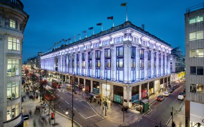 Night view of the east corner of Selfridges department store in London. Photo Credit: © Andrew Meredth via Selfridges & Co.