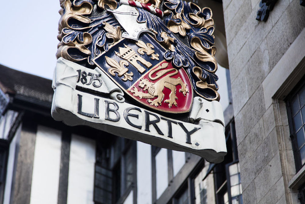 Liberty London department store sign on Great Marlborough Street in the West End. Photo Credit: © inkdrop via via 123RF.