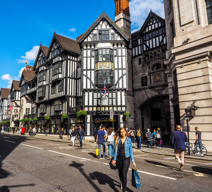 Street view of Liberty London department store. Photo Credit: © Claudio Divizia via 123RF.