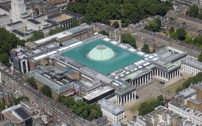 Aerial view of the British Museum. Photo Credit: © Luke Massey & the Greater London National Park City Initiative via Wikimedia Commons.