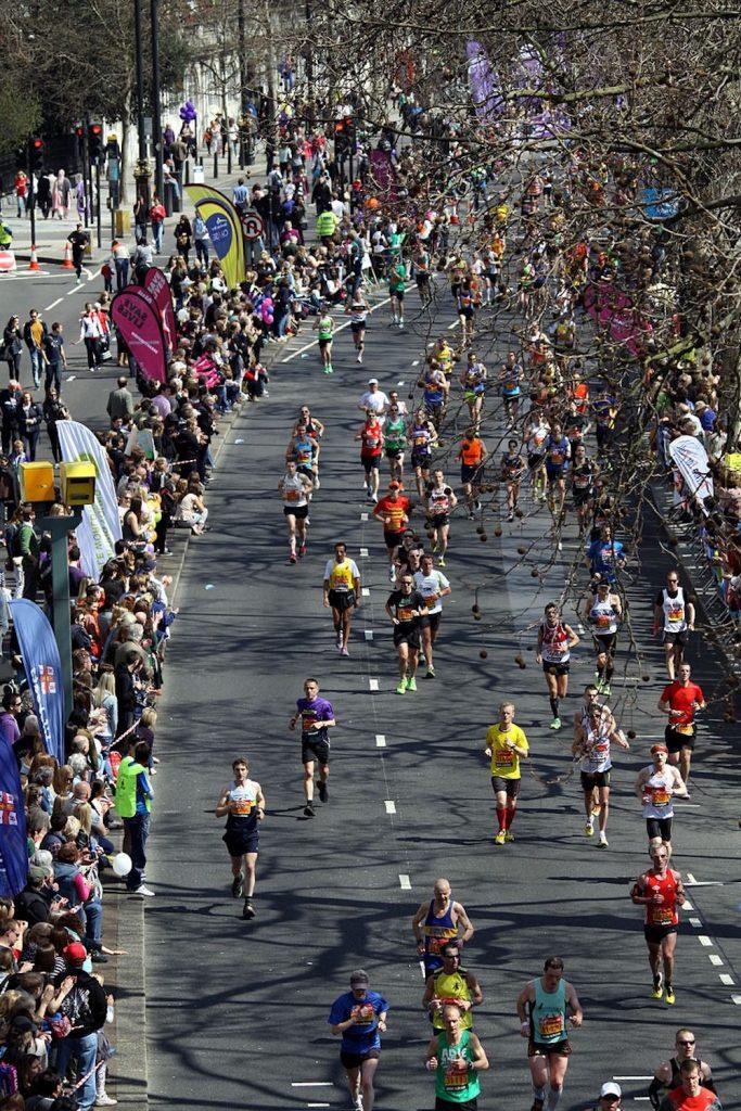 Amateur participants in Virgin London Marathon. Photo Credit: © Chmee2 via Wikimedia Commons.