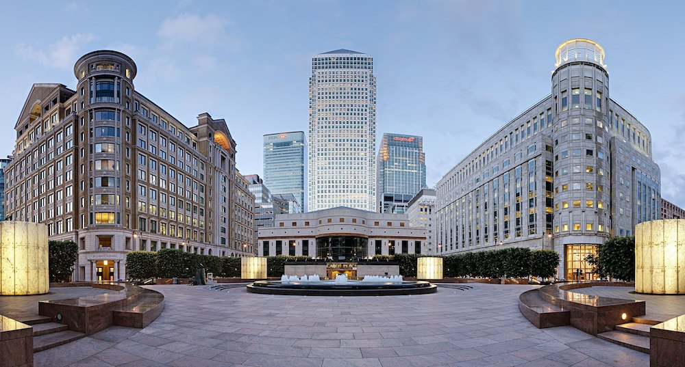 Carnary Wharf in London as viewed from Cabot Square.  Photo Credit: © Diliff via Wikimedia Commons.