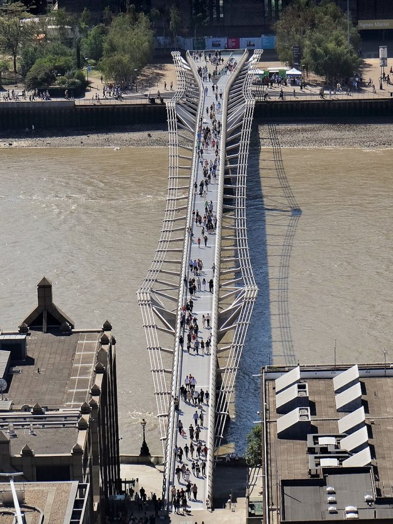 London Millennium Footbridge in London.  Photo Credit: © Ibex73 via Wikimedia Commons.